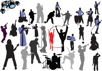 Royalty Free Clipart Image of Musician Silhouettes