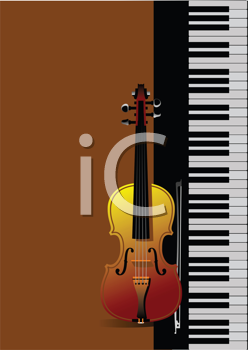 Royalty Free Clipart Image of a Keyboard and Violin