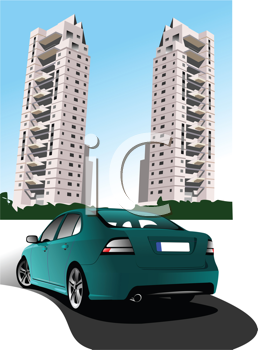 Dormitory and green car sedan. Vector illustration