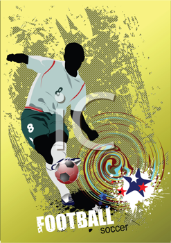 Grunge style Poster Soccer football player. Colored Vector illustration for designers