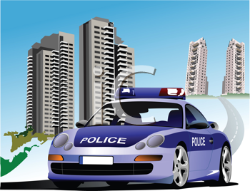 Dormitory and police. Vector illustration