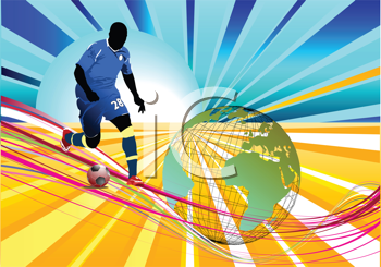 Poster Soccer football player. Colored Vector illustration for designers