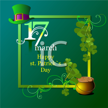 Vector of green hats and shamrocks for St. Patrick's Day.