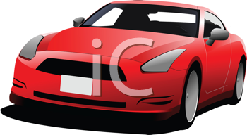 Red car coupe on the road. Colored Vector illustration for designers