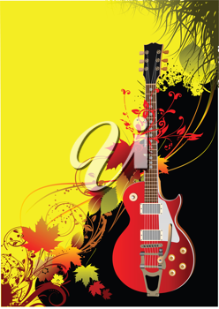 Cover for brochure with autumn leaves and guitar image. Vector illustration