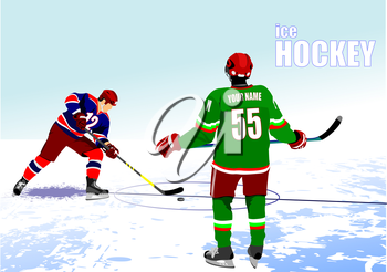 Ice hockey players poster. Colored Vector illustration for designers
