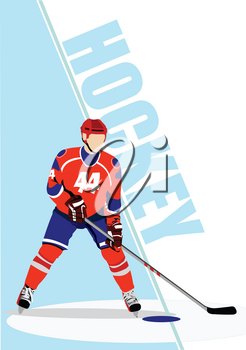 Ice hockey player poster. Vector illustration