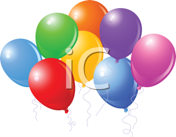 Royalty Free Clipart Image of a Group of Colourful Balloons