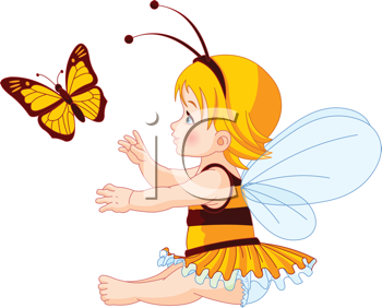 Royalty Free Clipart Image of a Fairy Girl Trying to Catch a Butterfly