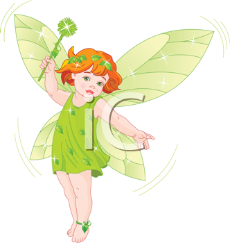 Royalty Free Clipart Image of a Baby Fairy in Flight