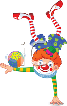 Royalty Free Clipart Image of an Acrobat Clown Standing On One Hand