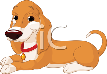 Royalty Free Clipart Image of a Dog Laying Down