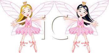 Royalty Free Clipart Image of Two Ballerina Fairies Dancing