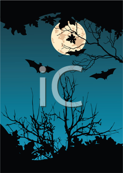 Royalty Free Clipart Image of Bats Flying in Front of the Moon