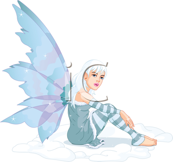 Royalty Free Clipart Image of a Winter Fairy Sitting in the Snow