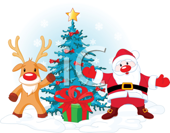 Royalty Free Clipart Image of a Santa Claus With Rudolph Near Christmas Tree