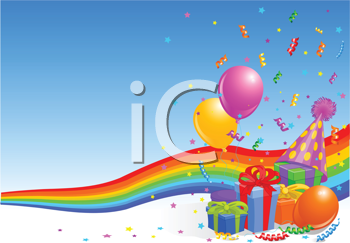 Royalty Free Clipart Image of a Party Element With Balloons, Ribbons, and Gifts