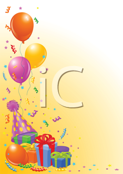 Royalty Free Clipart Image of a Birthday Card With Balloons, Gifts and a Hat at the Left
