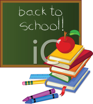 Royalty Free Clipart Image of Back to School With Books, Crayons and Chalkboard