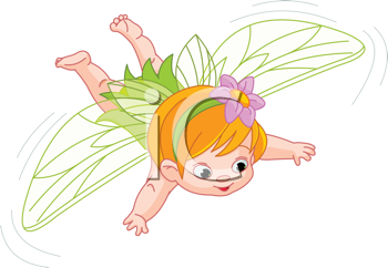 Royalty Free Clipart Image of a Baby Fairy Flying