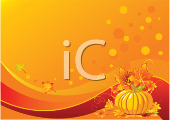 Royalty Free Clipart Image of an Autumn Background With a Pumpkin and Leaves