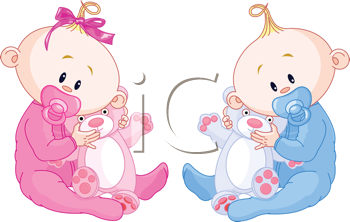 Twin Baby Boy And Girl With Pacifiers and Toys