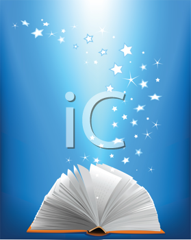 Royalty Free Clipart Image of a Book Flipping Open With Stars
