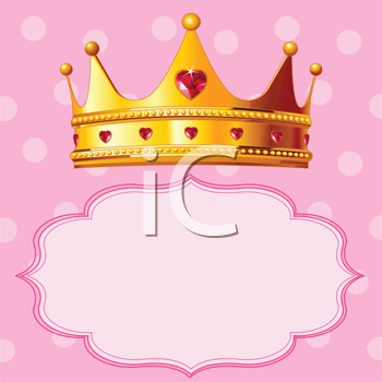 Royalty Free Clipart Image of a Crown Over a Blank Space