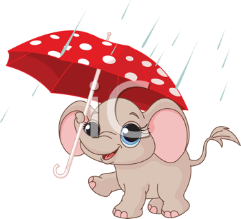 Illustration of Cute and funny baby elephant under umbrella