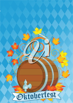 Decorative Oktoberfest design with beer keg