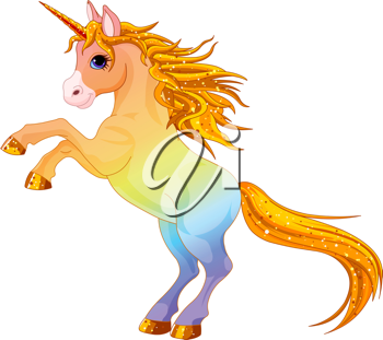 Cartoon  rainbow colored unicorn rearing up