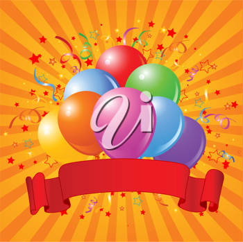 Birthday design with balloons, confetti & copy space ribbon.