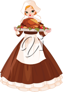 Young woman dressed as a Pilgrim serving a big turkey dinner
