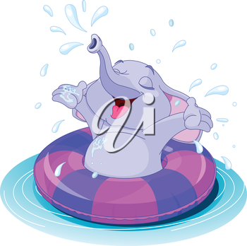 Royalty Free Clipart Image of an Elephant in an Inner Tube