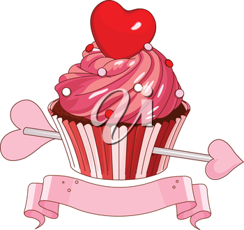 Valentine cupcake with heart on the top