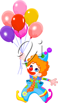 The clown fly with balloons.
