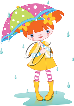Girl wearing rain gear, carrying umbrella
