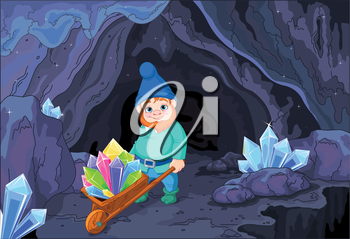 Illustration of gnome carries a wheelbarrow full of quartz crystals close to cave