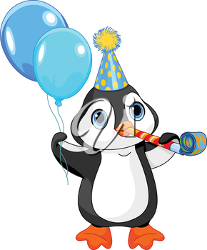 Illustration of cute penguin celebrating