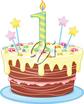 Illustration of decorated birthday cake