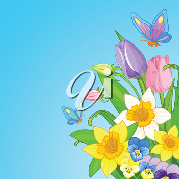 Illustration of Easter bouquet surrounded by butterflies