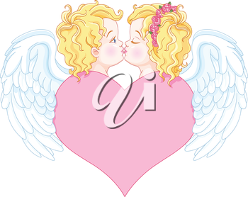 Valentines Day greeting angels in love