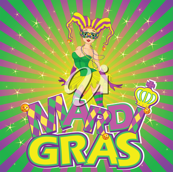 Colorful Mardi Gras girl design