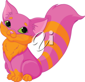 Illustration of very cute pink kitty