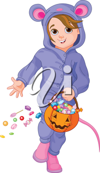 Illustration of trick or treating Halloween mouse child