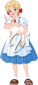Illustration of the girl is holding a goat in her arms
