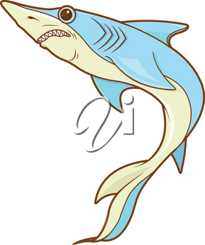 Illustration of cute blue shark