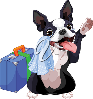 Boston Terrier with a suitcase is leaving and waving goodbye