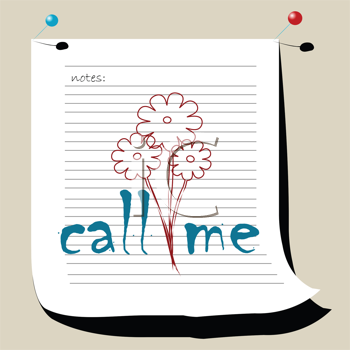 Royalty Free Clipart Image of a Call Me Note With Flowers in the Centre