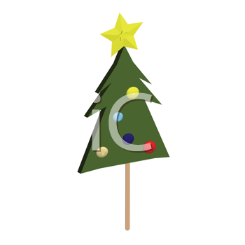 Royalty Free Clipart Image of a Christmas Tree Candy on a Stick